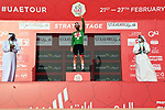 Race leader Tadej Pogacar (SLO) UAE Team Emirates wins Stage 3 and also takes over the Green Jersey of the 2021 UAE Tour running 166km from Al Ain to Jebel Hafeet, Abu Dhabi, UAE. 23rd February 2021.  <br /> Picture: LaPresse/Gian Mattia D'Alberto | Cyclefile<br /> <br /> All photos usage must carry mandatory copyright credit (© Cyclefile | LaPresse/Gian Mattia D'Alberto)