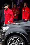 Real Madrid players Raul Albiol (l) and Sergio Ramos participate and receive new Audi during the presentation of Real Madrid's new cars made by Audi at the Jarama racetrack on November 8, 2012 in Madrid, Spain.(ALTERPHOTOS/Harry S. Stamper)