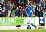 St Johnstone v Celtic...13.08.14  SPFL<br /> Dave Mackay walks off after being sent off<br /> Picture by Graeme Hart.<br /> Copyright Perthshire Picture Agency<br /> Tel: 01738 623350  Mobile: 07990 594431