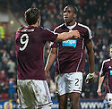 Hearts' John Sutton celebrates with Michael Ngoo  after he scores their second goal.