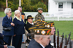 Veterans, including John Creech, B Troop, and Jerry Hogan, B Troop, listen during the rededication ceremony of the 1st Squadron, 9th Cavalry monument at Motts Military Museum in Groveport, Ohio.