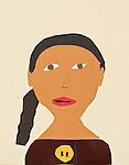 Art work by school age child cut paper self portrait