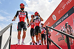 Lotto-Soudal at sign on before the start of Stage 1 of the 2021 UAE Tour the ADNOC Stage running 176km from Al Dhafra Castle to Al Mirfa, Abu Dhabi, UAE. 21st February 2021.  <br /> Picture: LaPresse/Gian Mattia D'Alberto | Cyclefile<br /> <br /> All photos usage must carry mandatory copyright credit (© Cyclefile | LaPresse/Gian Mattia D'Alberto)
