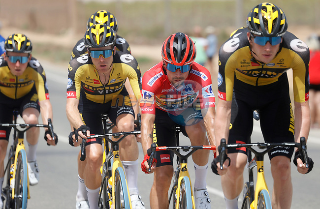 Race leader Red Jersey Primoz Roglic (SLO) with his Jumbo-Visma team mates in the peloton during Stage 9 of La Vuelta d'Espana 2021, running 188km from Puerto Lumbreras to Alto de Velefique, Spain. 22nd August 2021.     <br /> Picture: Luis Angel Gomez/Photogomezsport | Cyclefile<br /> <br /> All photos usage must carry mandatory copyright credit (© Cyclefile | Luis Angel Gomez/Photogomezsport)