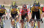 Race leader Red Jersey Primoz Roglic (SLO) with his Jumbo-Visma team mates in the peloton during Stage 9 of La Vuelta d'Espana 2021, running 188km from Puerto Lumbreras to Alto de Velefique, Spain. 22nd August 2021.     <br /> Picture: Luis Angel Gomez/Photogomezsport   Cyclefile<br /> <br /> All photos usage must carry mandatory copyright credit (© Cyclefile   Luis Angel Gomez/Photogomezsport)