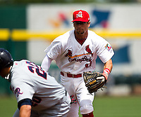 Greg Garcia (10) of the Springfield Cardinals runs down a base runner during a game against the Arkansas Travelers at Hammons Field on May 8, 2012 in Springfield, Missouri. (David Welker/ Four Seam Images)
