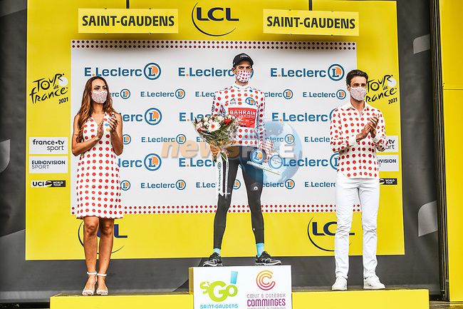 Wout Poels (NED) Bahrain Victorious retains the mountains Polka Dot Jersey at the end of Stage 16 of the 2021 Tour de France, running 169km from Pas de la Case to Saint-Gaudens, Andorra. 13th July 2021.  <br /> Picture: A.S.O./Charly Lopez | Cyclefile<br /> <br /> All photos usage must carry mandatory copyright credit (© Cyclefile | A.S.O./Charly Lopez)