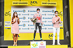 Wout Poels (NED) Bahrain Victorious retains the mountains Polka Dot Jersey at the end of Stage 16 of the 2021 Tour de France, running 169km from Pas de la Case to Saint-Gaudens, Andorra. 13th July 2021.  <br /> Picture: A.S.O./Charly Lopez   Cyclefile<br /> <br /> All photos usage must carry mandatory copyright credit (© Cyclefile   A.S.O./Charly Lopez)