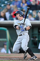 Johnny Giavotella # 9 swings against the Iowa Cubs at Principal Park on July 2, 2014 in Des Moines, Iowa. The Cubs  beat Storm Chasers 4-3.   (Dennis Hubbard/Four Seam Images)