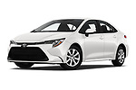 Stock pictures of low aggressive front three quarter view of 2020 Toyota Corolla LE 4 Door Sedan Low Aggressive