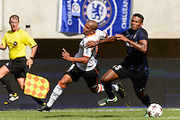Valencia C. F. midfielder Sofiane Feghouli (8) is marked by F.C. Internazionale Milano defender Juan Jesus (5). Valencia C. F. defeated F.C. Internazionale Milano 4-0 during round two of the 2013 Guinness International Champions Cup at MetLife Stadium in East Rutherford, NJ, on August 04, 2013.