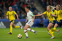 LE HAVRE, FRANCE - JUNE 20: Carli Lloyd #10, Hanna Glas #4 during a 2019 FIFA Women's World Cup France group F match between the United States and Sweden at Stade Océane on June 20, 2019 in Le Havre, France.
