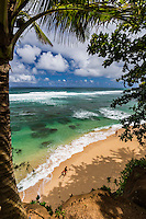 A woman walks down a beach with her surfboard along Kaua'i's north shore.