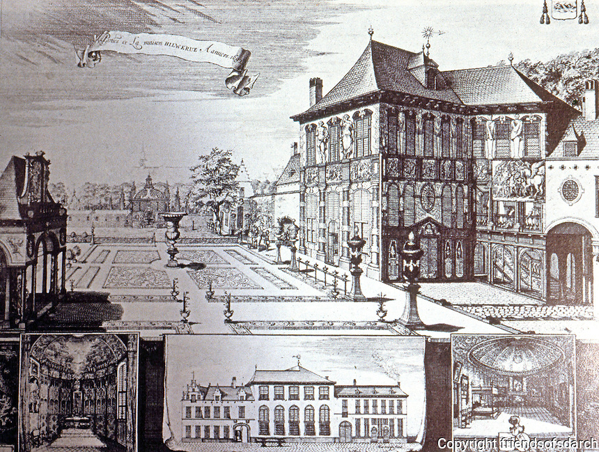 Antwerp: Rubens House in 1692--drawing. Reference only.