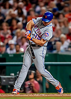 21 September 2018: New York Mets outfielder Jay Bruce connects for an RBI double in the 3rd inning against the Washington Nationals at Nationals Park in Washington, DC. Bruce went 2 for 4 with 2 RBIs, as the Mets defeated the Nationals 4-2 in the second game of their 4-game series. Mandatory Credit: Ed Wolfstein Photo *** RAW (NEF) Image File Available ***