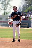 Boston Red Sox Wade Boggs stands for the national anthem during spring training circa 1991 at Chain of Lakes Park in Winter Haven, Florida.  (MJA/Four Seam Images)