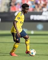 CHARLOTTE, NC - JULY 20: Bukayo Saka #77 during a game between ACF Fiorentina and Arsenal at Bank of America Stadium on July 20, 2019 in Charlotte, North Carolina.