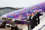 Pix: Shaun Flannery/shaunflanneryphotography.com<br /> <br /> COPYRIGHT PICTURE>>SHAUN FLANNERY>01302-570814>>07778315553>><br /> <br /> 24th March 2016<br /> Doncaster Sheffield Airport<br /> Flybe first flight to Paris.<br /> L-R Steve Gill, Managing Director DSA, Sir Gary Verity, Welcome To Yorkshire, Vincent Hodder, Chief Revenue Officer Flybe.