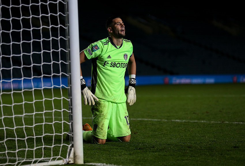 Leeds United's Kiko Casilla reacts after conceding fro the spot<br /> <br /> Photographer Alex Dodd/CameraSport<br /> <br /> Carabao Cup Second Round Northern Section - Leeds United v Hull City -  Wednesday 16th September 2020 - Elland Road - Leeds<br />  <br /> World Copyright © 2020 CameraSport. All rights reserved. 43 Linden Ave. Countesthorpe. Leicester. England. LE8 5PG - Tel: +44 (0) 116 277 4147 - admin@camerasport.com - www.camerasport.com