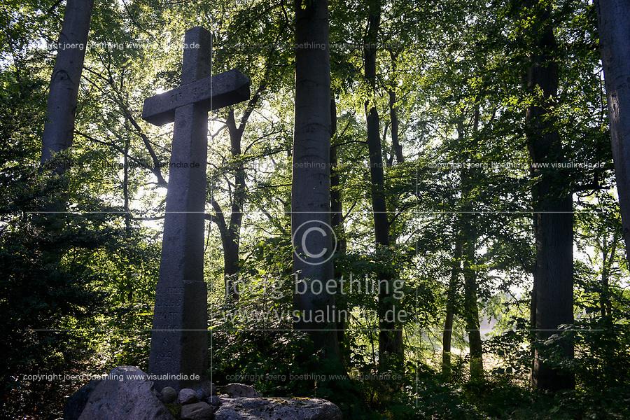 GERMANY, Teterow, forest, cross, grave stone / DEUTSCHLAND, Burg Schlitz, Landschaftsschutzgebiet Saechsische Schweiz, intakter Wald, Laubwald, Gedenkkreuz, Grab