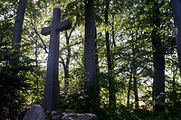GERMANY, Teterow, forest, cross, grave stone / DEUTSCHLAND, Burg Schlitz, Landschaftsschutzgebiet Saechsische Schweiz, intakter Wald, Laubwald, Gedenkkreuz, Grab