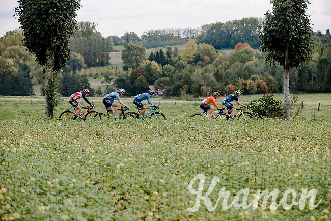 early breakaway group with Emily Newsom (USA/Tibco-Silicon Valley Bank), Heidi Franz (USA/Rally Cycling), Gloria Rodriguez Sanchez (ESP/Movistar), Mieke Kröger (GER/Hitec Products-Birk Sport) and Teuntje Beekhuis (NED/Lotto-Soudal)<br /> <br /> 17th Ronde van Vlaanderen 2020<br /> Elite Womens Race (1.WWT)<br /> <br /> One Day Race from Oudenaarde to Oudenaarde 136km<br /> <br /> ©kramon