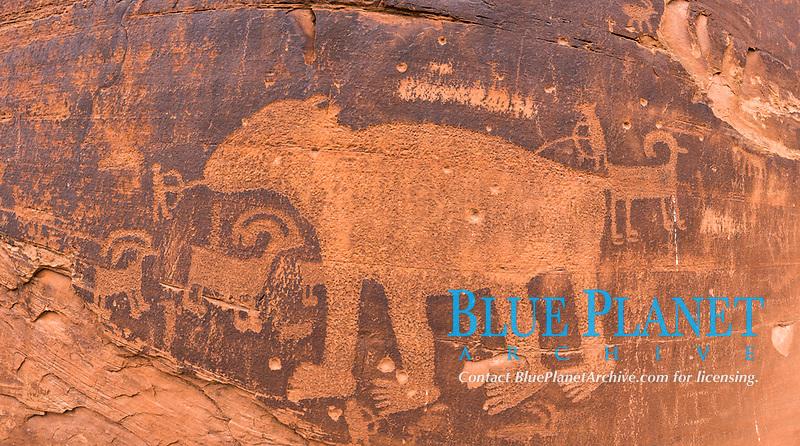 Petroglyphs and native American rock art, Moab, Utah, USA