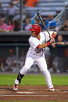 Auburn Doubledays left fielder Oliver Ortiz (12) at bat during a game against the Tri-City ValleyCats on August 25, 2016 at Falcon Park in Auburn, New York.  Tri-City defeated Auburn 4-3.  (Mike Janes/Four Seam Images)