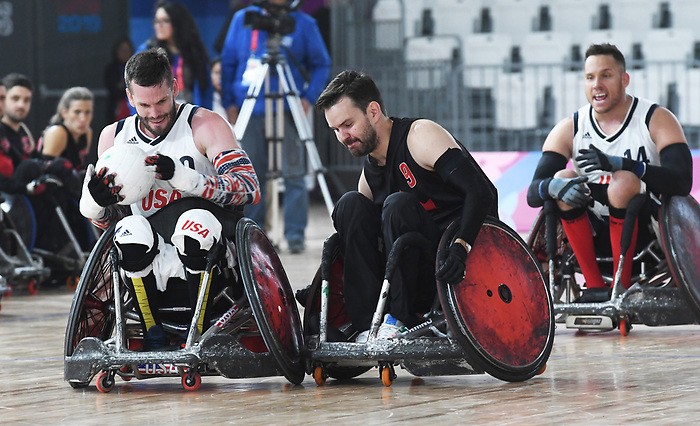 Cody Caldwell, Lima 2019 - Wheelchair Rugby // Rugby en fauteuil roulant.<br /> Canada takes on the USA in wheelchair rugby // Le Canada affronte les États-Unis au rugby en fauteuil roulant. 27/08/2019.