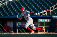 Clearwater Threshers Dalton Guthrie (46) bats during a Florida State League game against the Palm Beach Cardinals on August 10, 2019 at Roger Dean Chevrolet Stadium in Jupiter, Florida.  Clearwater defeated Palm Beach 11-4.  (Mike Janes/Four Seam Images)