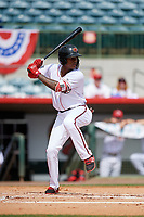Florida Fire Frogs center fielder Cristian Pache (25) at bat during a game against the Daytona Tortugas on April 8, 2018 at Osceola County Stadium in Kissimmee, Florida.  Daytona defeated Florida 2-1.  (Mike Janes/Four Seam Images)