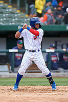 South Bend Cubs Eric Gonzalez (20) at bat during a Midwest League game against the Cedar Rapids Kernels at Four Winds Field on May 8, 2019 in South Bend, Indiana. South Bend defeated Cedar Rapids 2-1. (Zachary Lucy/Four Seam Images)
