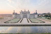 France, Loire-et-Cher (41), Chambord, château de Chambord, matin givré