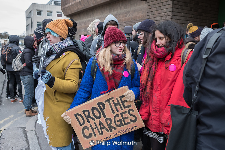 Supporters of the Stansted 15 demonstrate outside Chelmsford Crown Court on day one of their 6 week trial on terrorism charges after chaining themselves to a deportation flight to Nigeria and Ghana at Stansted Airport.