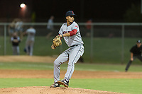 AZL Indians 2 starting pitcher Carlos Vargas (64) delivers a pitch during an Arizona League game against the AZL Cubs 2 at Sloan Park on August 2, 2018 in Mesa, Arizona. The AZL Indians 2 defeated the AZL Cubs 2 by a score of 9-8. (Zachary Lucy/Four Seam Images)