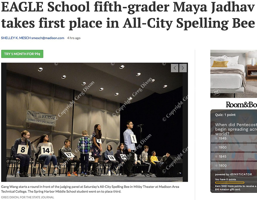 Spring Harbor Middle School's Gang Wang starts a round in front of the judging panel at the Madison, Wisconsin All-City Spelling Bee on Saturday, 2/9/19, at Madison College's Mitby Theater | Wisconsin State Journal article page C1 (Local & State front page) and online at https://madison.com/wsj/news/local/education/local_schools/eagle-school-fifth-grader-maya-jadhav-takes-first-place-in/article_ff61775f-7682-53fb-be28-6535e8f5510b.html