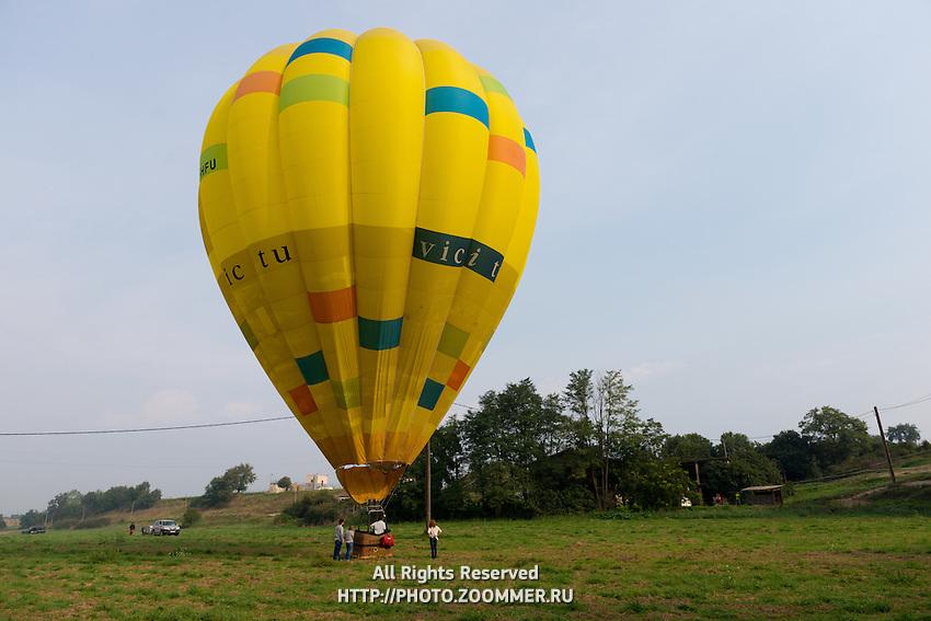 Hot air balloon in the field, Spain