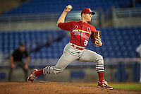 Palm Beach Cardinals relief pitcher Rowan Wick (28) delivers a pitch during a game against the Dunedin Blue Jays on April 15, 2016 at Florida Auto Exchange Stadium in Dunedin, Florida.  Dunedin defeated Palm Beach 8-7.  (Mike Janes/Four Seam Images)