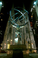 Atlas sculpture and St. Patrick's Cathedral, NY, New York City.