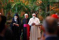 """Pope Francis and Orthodox Patriarch Bartholomew of Constantinople attend the meeting, """"Faith and Science: Towards COP26,"""" with religious leaders in the Apostolic Palace at the Vatican Oct. 4, 2021. The meeting was part of the run-up to the U.N. Climate Change Conference, called COP26, in Glasgow, Scotland, Oct. 31 to Nov. 12, 2021."""