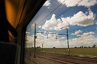 North France, Eurostar train, August, 14, 2008<br /> <br /> Landscape in the north of France from the high speed train from Brussels to London.<br /> <br /> Noordfrans landschap vanuit de Eurostar trein van Brussel naar Londen.<br /> <br /> Photo Kees Metselaar/Hollandse Hoogte