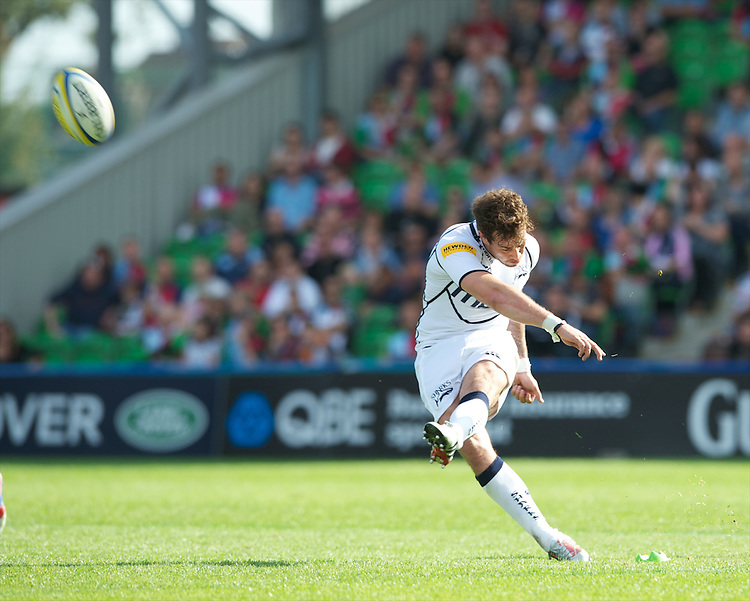 Danny Cipriani of Sale Sharks takes a penalty kick during the Aviva Premiership match between Harlequins and Sale Sharks at The Twickenham Stoop on Saturday 15th September 2012 (Photo by Rob Munro)