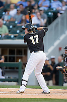 Jason Coats (17) of the Charlotte Knights at bat against the Louisville Bats at BB&T BallPark on May 12, 2015 in Charlotte, North Carolina.  The Knights defeated the Bats 4-0.  (Brian Westerholt/Four Seam Images)