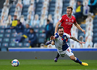 7th November 2020; Ewood Park, Blackburn, Lancashire, England; English Football League Championship Football, Blackburn Rovers versus Queens Park Rangers; Adam Armstrong of Blackburn Rovers is fouled on the edge of the penalty area by Todd Kane of Queens Park Rangers