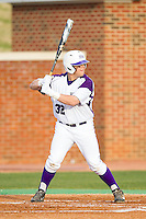 Dominic Fazio (32) of the High Point Panthers at bat against the Coastal Carolina Chanticleers at Willard Stadium on March 14, 2014 in High Point, North Carolina.  The Panthers defeated the Chanticleers 3-0.  (Brian Westerholt/Four Seam Images)
