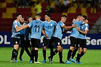 BUCARAMANGA - COLOMBIA, 06-02-2020: Manuel Ugarte (#5) de Uruguay celebra después de anotar el primer gol de su equipo durante partido entre Brasil U-23 Y Uruguay U-23 por el cuadrangular final como parte del torneo CONMEBOL Preolímpico Colombia 2020 jugado en el estadio Alfonso Lopez en Bucaramanga, Colombia. / Manuel Ugarte¨(#5) of Uruguay celebrates after scoring the first goal of his team during match between Brazil U-23 and Uruguay U-23 for the final quadrangular as part of CONMEBOL Pre-Olympic Tournament Colombia 2020 played at Alfonso Lopez stadium in Bucaramanga, Colombia. Photo: VizzorImage / Julian Medina / Cont