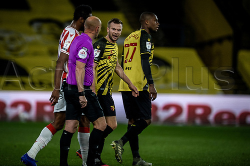 4th November 2020; Vicarage Road, Watford, Hertfordshire, England; English Football League Championship Football, Watford versus Stoke City; An argument develops as to whether Tom Cleverleys goal for Watford crossed the line in the 28th minute but is given for 1-1