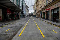 Pictured: The almost deserted Queen Steet in Cardiff, Wales, UK. Friday 8th January 2021<br /> Re: The whole of Wales in in Tier 4 due to rising Covid-19 Coronavirus cases, Cardiff, Wales, UK.