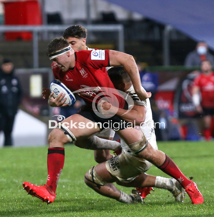 11 December 2020; Matty Rea is tackled by Rynhard Elstadt during the Heineken Champions Cup Pool B Round 1 match between Ulster and Toulouse at Kingspan Stadium in Belfast. Photo by John Dickson/Dicksondigital