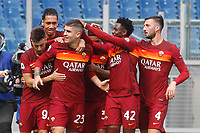 Roma's Gianluca Mancini, third from left, celebrates with his teammates,after scoring during the Italian Serie A Football match between Roma and Genoa at Rome's Olympic stadium, March 7, 2021.<br /> UPDATE IMAGES PRESS/Riccardo De Luca